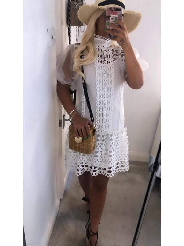 Crisp White Lace & Chiffon Mini Dress