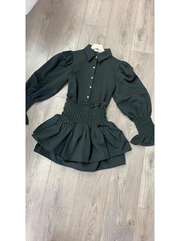 Dana - Black Shirt & Skirt Set