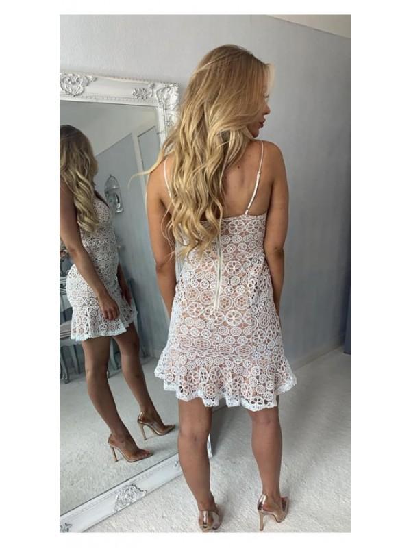 Ivory Over Cream Lace Mini Dress