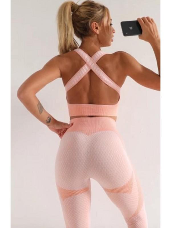 Peach Pink Three Piece Gym Set