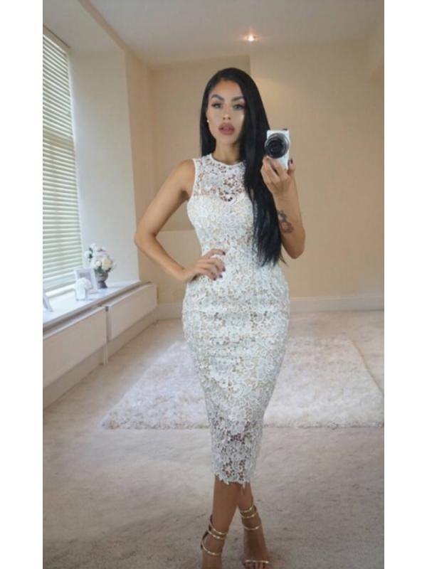 Cream Lace Bodycon Midi Dress