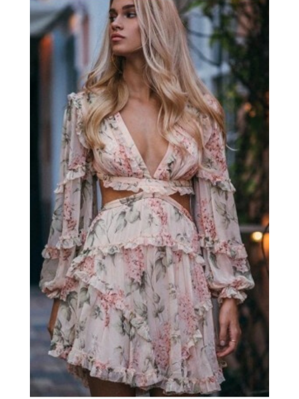 Carmel - Floaty Floral Mini Dress