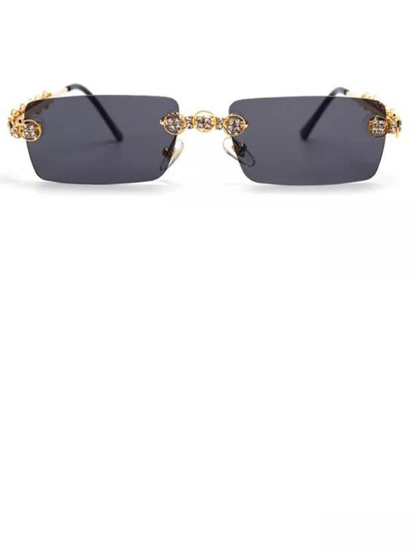 Cuba - Black Rimless Sunglasses with Embellished Frames