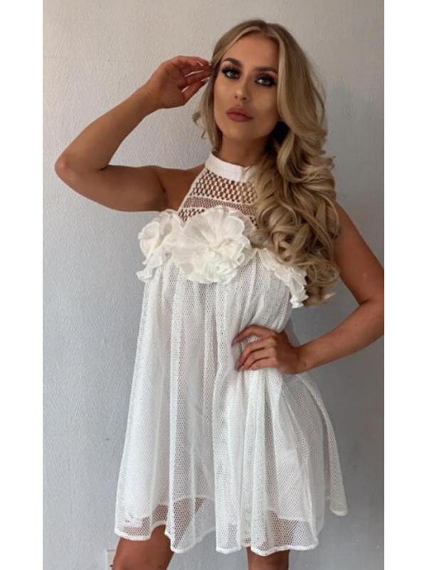 Yasmin - White Mesh Mini Dress