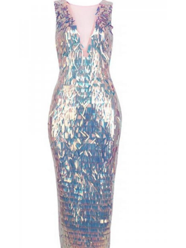 Sequin Fringed Midi Dress