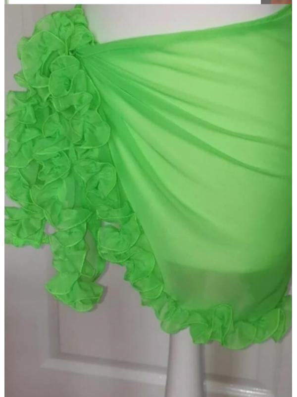 Neon Green Ruffle Frill Sarong