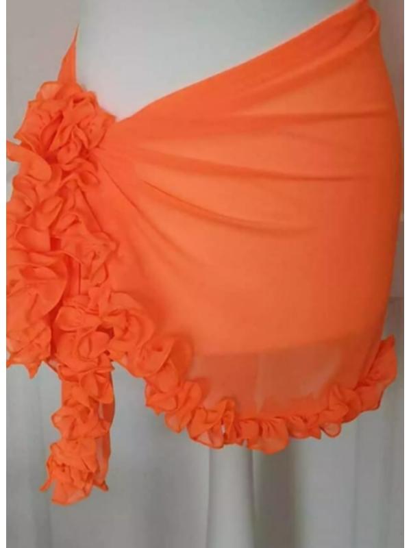 Neon Orange Ruffle Frill Sarong