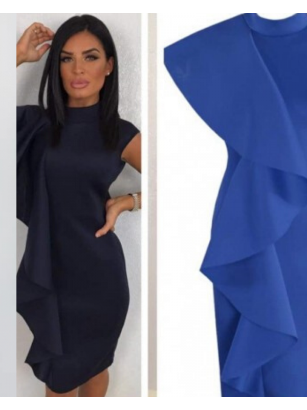 Cobolt Blue Ruffle Midi Dress