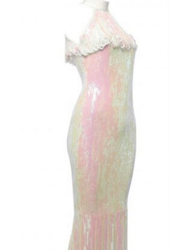 Irridescent Sequin Tassel Midi Dress