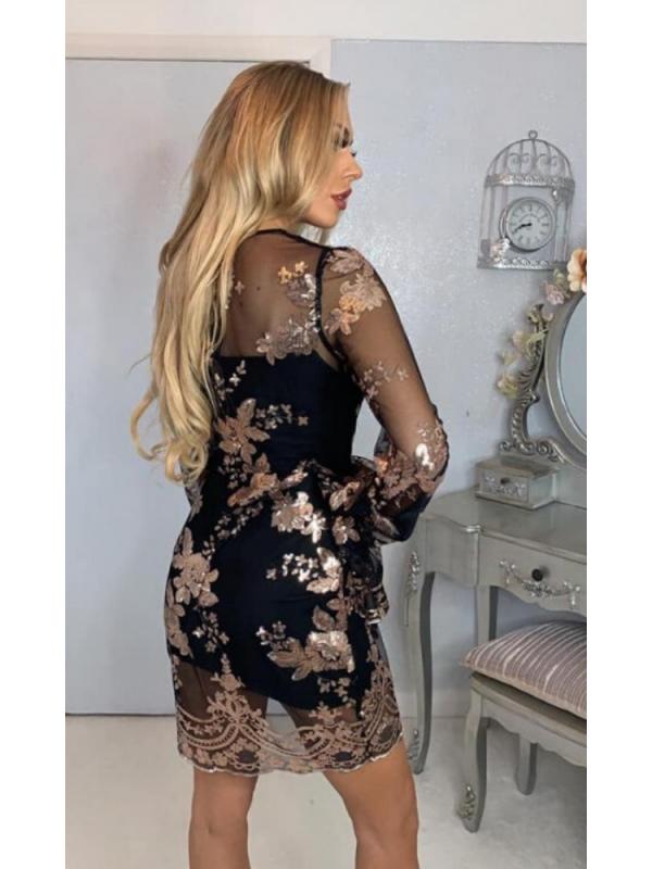 Copper Sequin Lace Mini Dress