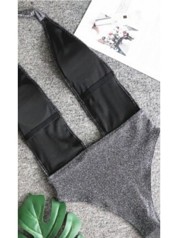 Metallic Black Crystal Swimsuit