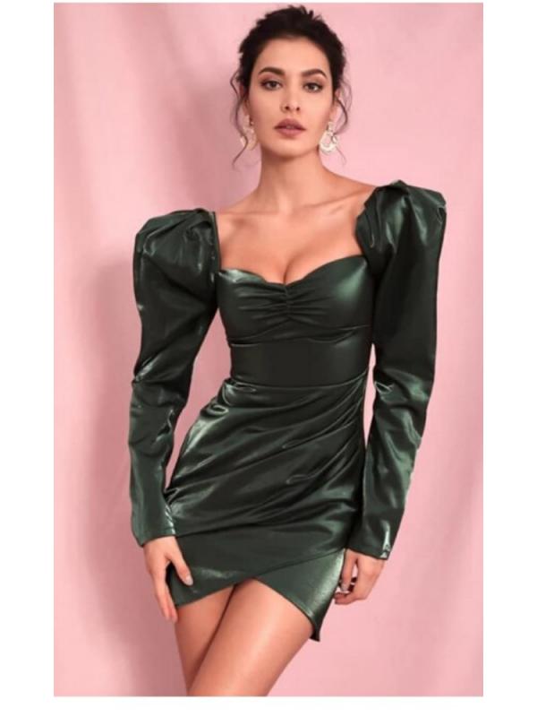 Dark Green Draped Mini Dress