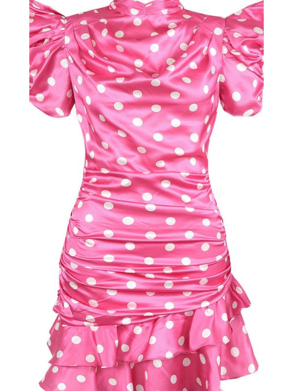 Pink & White Polkadot Ruched Dress