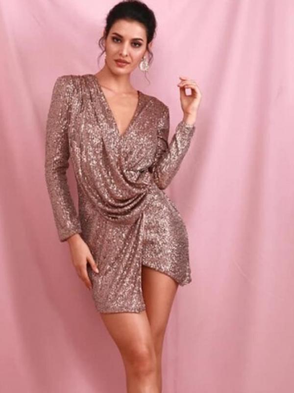 Bronze Sequin Drape Mini Dress
