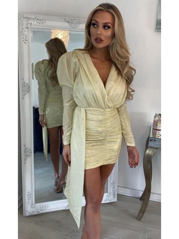 Gold Drape Sparkle Mini Dress