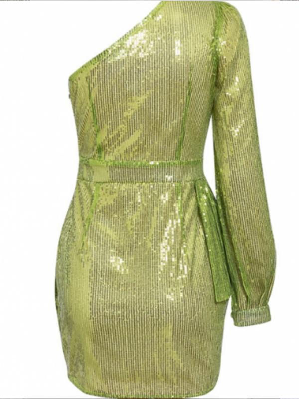 Lime One Shoulder Sequin Dress