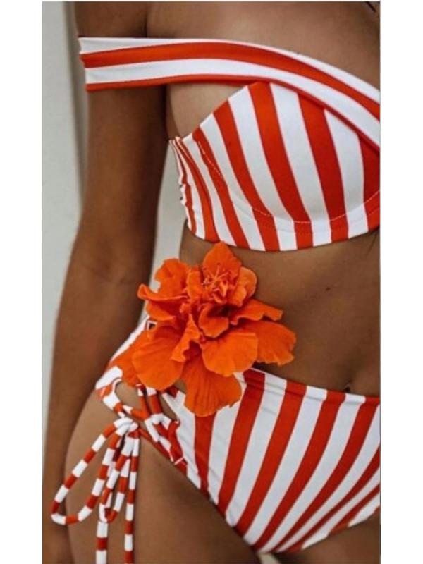 Red & White Stripe Bikini