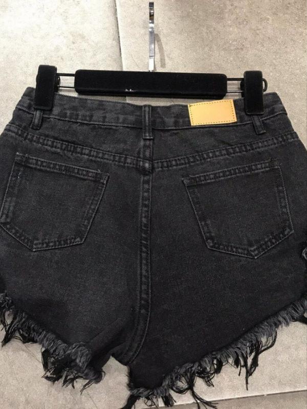 Black Denim Rivet Shorts