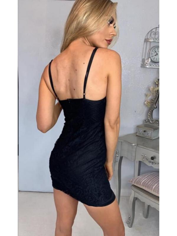 Black Lace Bodycon Mini Dress
