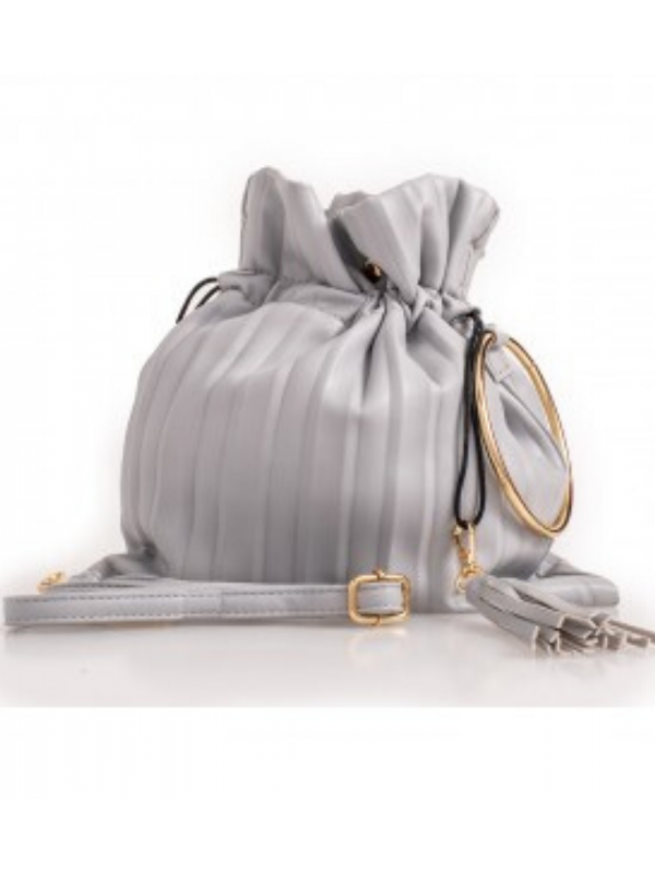 Grey Fluted Top Handle Bag  (Small)