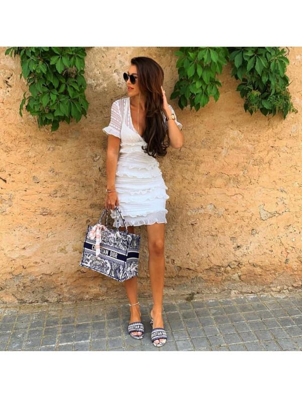 White Lace Ruffle Mini Dress