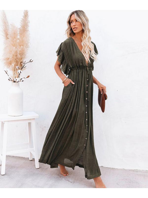 Lorna - Khaki Maxi Cover Up Dress/Kaftan