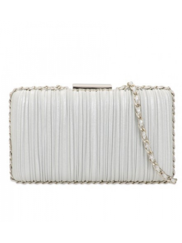 Silver Fluted Clutch Bag