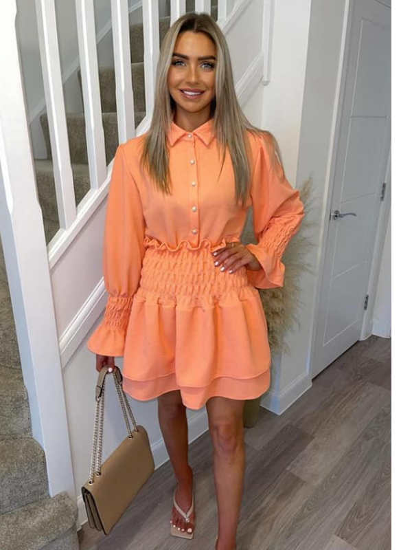 Dana - Bright Coral Shirt & Skirt Set