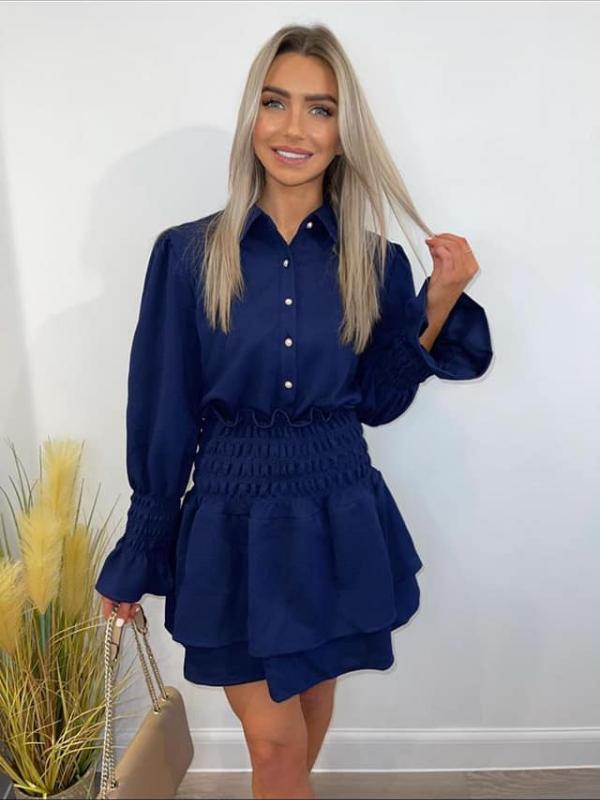 Dana - Dark Navy Blue Shirt & Skirt Set
