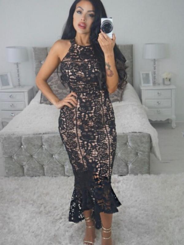 Black Over Nude Crochet Lace Midi Dress