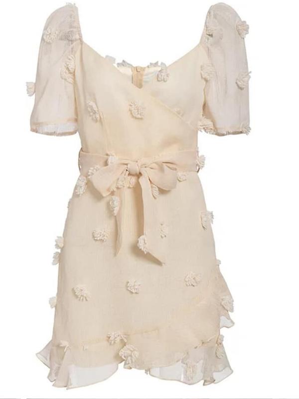 Off Cream Chiffon Mini Dress