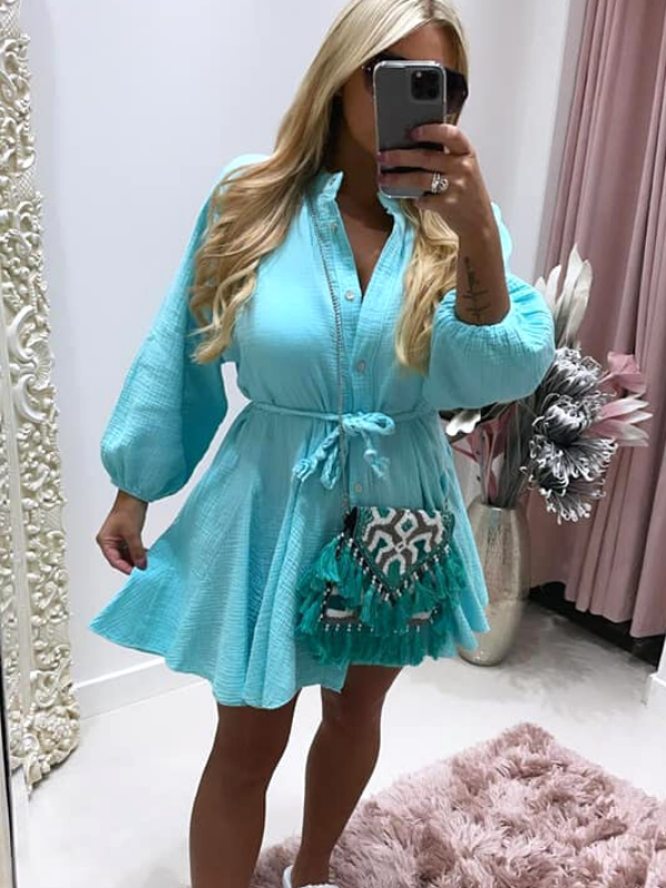 Turquoise Dress With Pleated Rope Belt