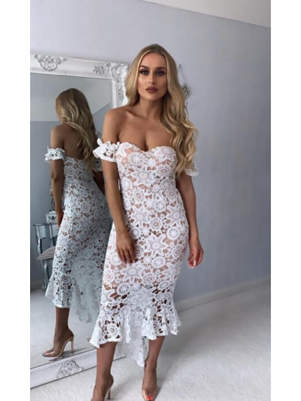 Ivory Lace Fishtail Midi Dress