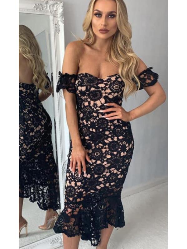 Black Over Nude Lace Fishtail Midi Dress