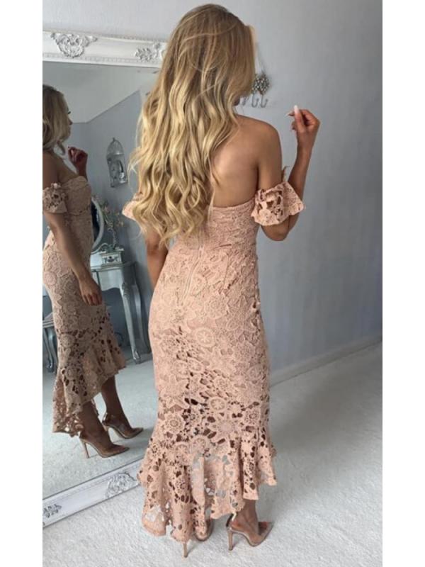 Dark Beige Lace Fishtail Midi Dress