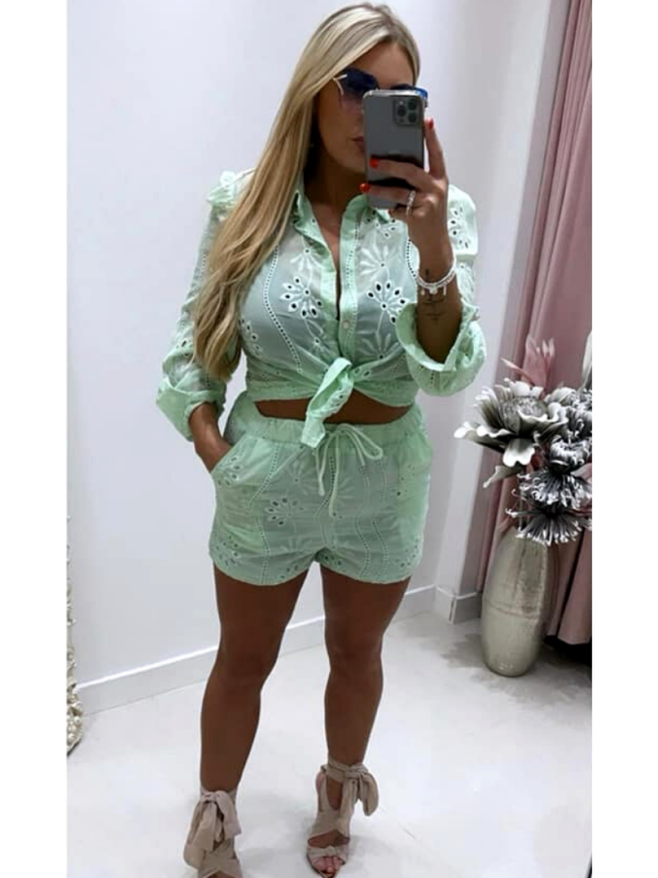 Beau - Mint Green Top & Shorts Set