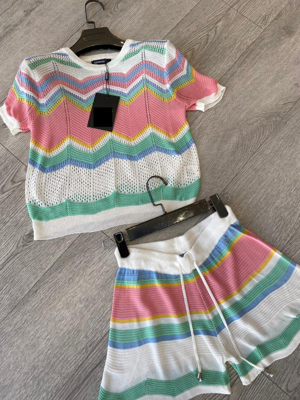 Bindy - Pastel Knitted Top & Shorts