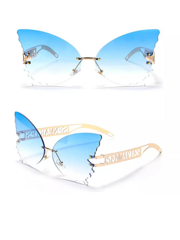 Blue Ombre Butterfly Rimless Sunglasses