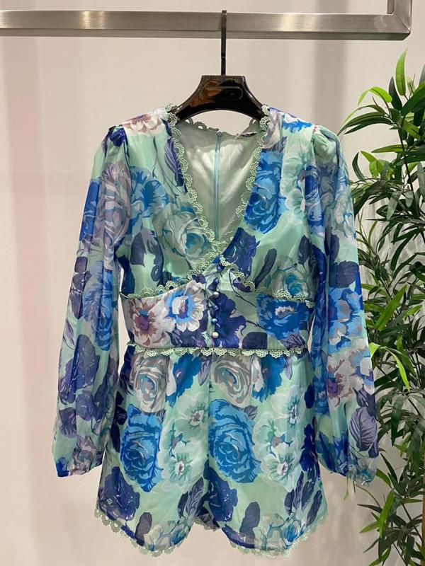 Blue Floral Playsuit - Petite
