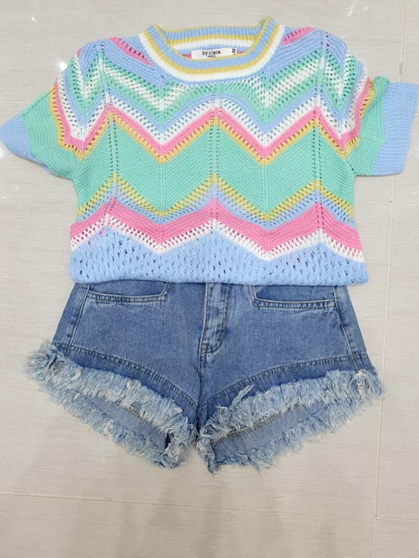 Pale Blue Zig Zag Knitted Top