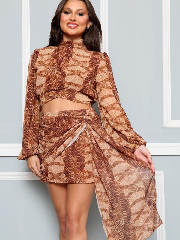 Brown Snakeskin Print Top & Skirt Co-Ords