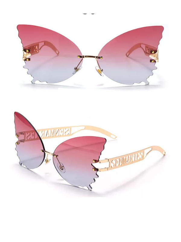 Pink Ombre Butterfly Rimless Sunglasses