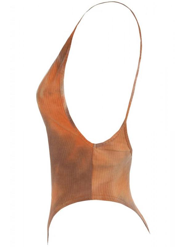 Camel Tie Dye Ribbed Open Back Bodysuit