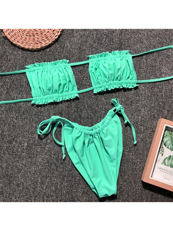 Carla - Green Ruched Bikini Set
