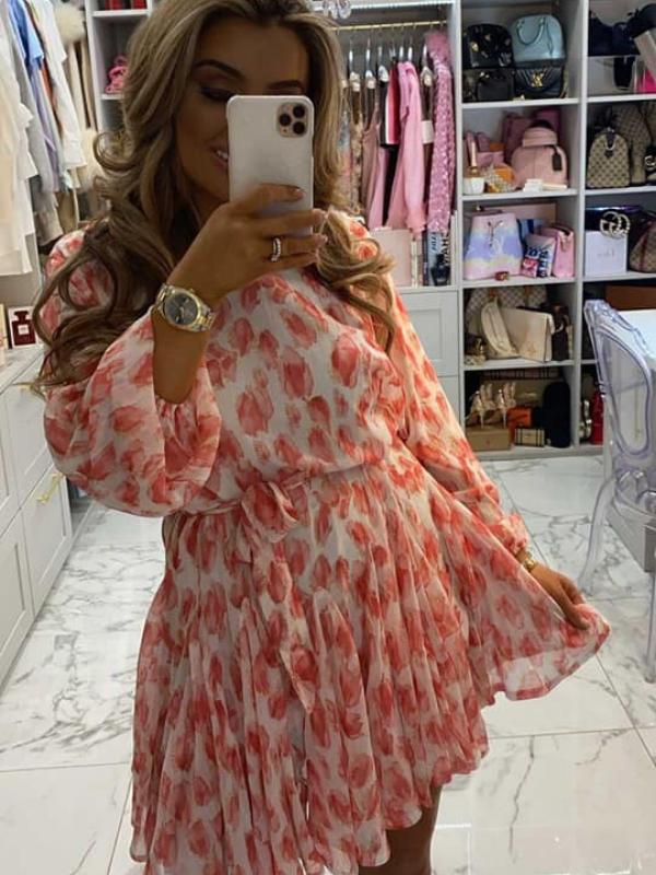 Kylie - Pink & White Swing Dress