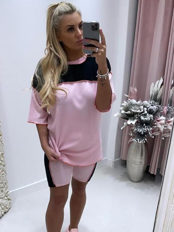 Pink & Black Colour Block Top & Shorts Co-Ords
