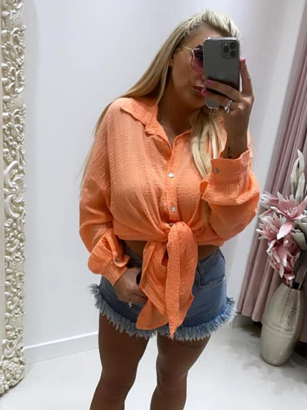 Bright Coral Cheesecloth Shirt