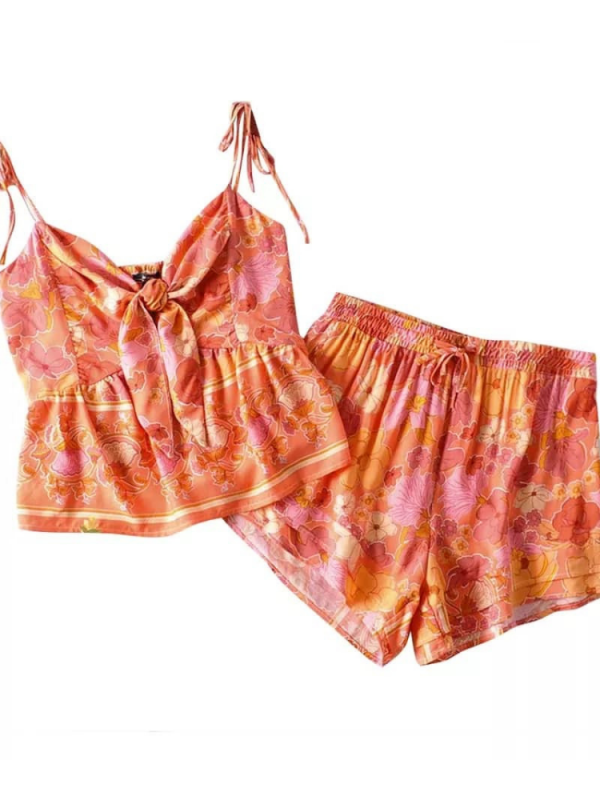 Coral & Pink Cami Top & Shorts
