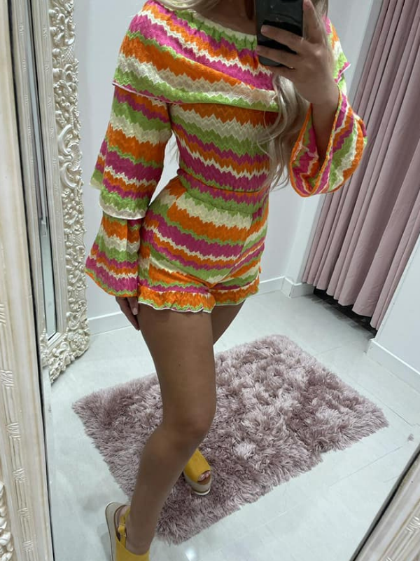 Coral & Pink Knitted Bardot Top & Shorts