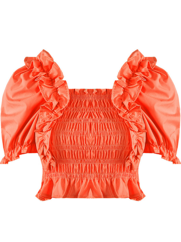 Bright Coral Ruched Frill Crop Top